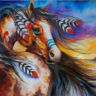 Art: 5 FEATHERS Indian War Horse by Artist Marcia Baldwin