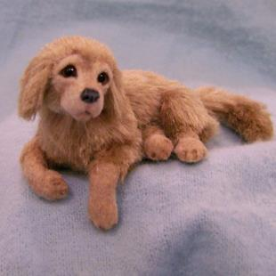 Art: Silk Furred Golden Retriever Puppy by Artist Camille Meeker Turner