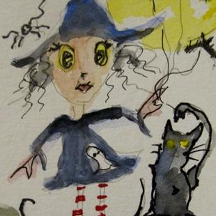 Art: Witch and Black Cat Aceo by Artist Delilah Smith