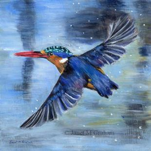 Art: Malachite Kingfisher by Artist Janet M Graham