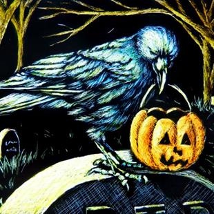 Art: Trick or Treat Crow  (SOLD) by Artist Monique Morin Matson
