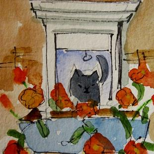 Art: Black Cat and Poppies by Artist Delilah Smith