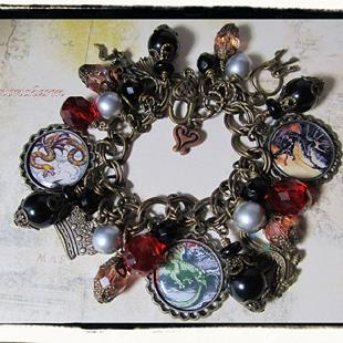 Art: Dragons Den altered art charm bracelet by Artist Lisa  Wiktorek