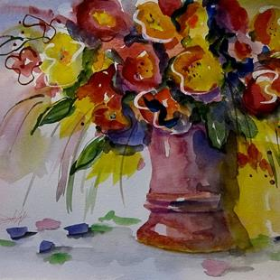 Art: Floral Still Life in Pink by Artist Delilah Smith