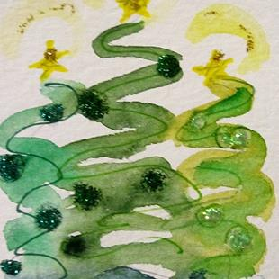 Art: Three Christmas Trees by Artist Delilah Smith