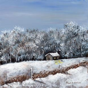 Art: Winter Cabin by Artist Janet M Graham