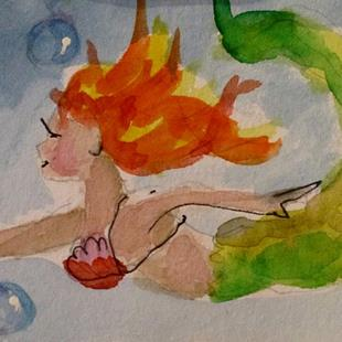 Art: Mermaid and Bubbles Aceo by Artist Delilah Smith