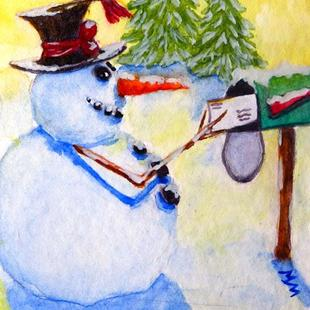 Art: Snowman Greetings  (SOLD) by Artist Monique Morin Matson