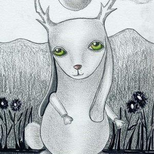 Art: Kin To Jackalope-Sold by Artist Sherry Key