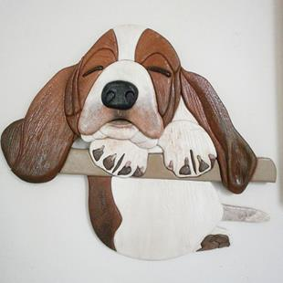 Art: Sleepy Bassett Pup Original Painted Intarsia Art by Artist Gina Stern