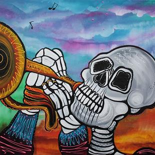 Art: Skeleton Serenade by Artist Laura Barbosa