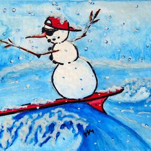 Art: Surfing Snowman  (SOLD) by Artist Monique Morin Matson