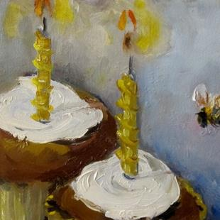 Art: Birthday Cupcake and Bee by Artist Delilah Smith