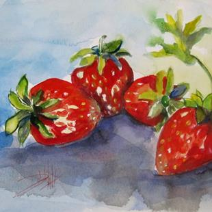 Art: Four Strwberries (800x578).jpg by Artist Delilah Smith