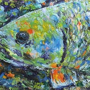 Art: Encaustic Fish Portrait  - sold by Artist Ulrike 'Ricky' Martin