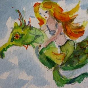 Art: Mermaid and Seahorse-sold by Artist Delilah Smith