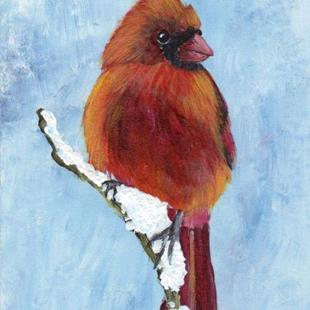 Art: Red Cardinal ACEO by Artist Janet M Graham