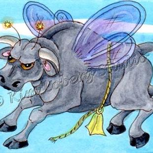 Art: Bucking Bull Fly by Artist Kim Loberg