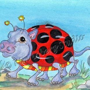 Art: Walk About Lady Bug Hippo by Artist Kim Loberg
