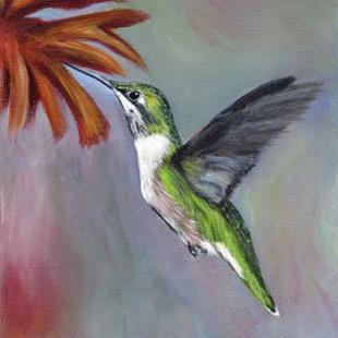 Art: Ruby Throated Hummingbird by Artist Janet M Graham