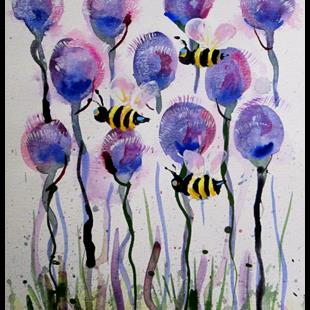 Art: Purple Flowers and Bees-sold by Artist Delilah Smith