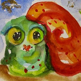Art: Big Eyed Christmas Snail by Artist Delilah Smith