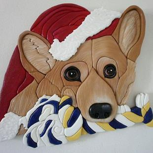 Art: CORGI SANTA ORIGINAL PAINTED INTARSIA ART by Artist Gina Stern
