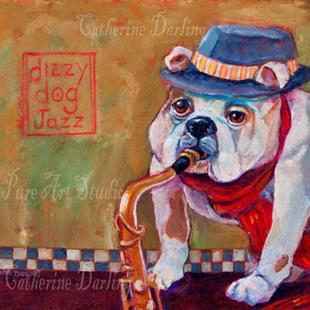Art: Dizzy Dog Jazz by Artist Catherine Darling Hostetter