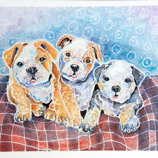 Art: THREE LITTLE BULLDOG PUPS by Artist Marcia Baldwin