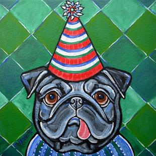 Art: Party Pug 1 by Artist Melinda Dalke