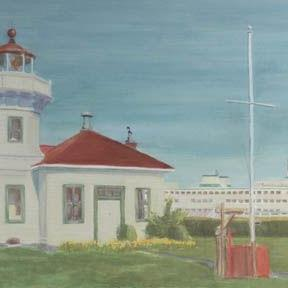 Art: Ferry At Mukilteo Lighthouse by Artist Carol Thompson