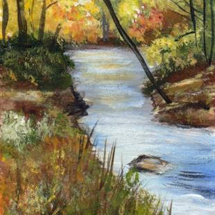 Art: Fall Stream ACEO by Artist Janet M Graham