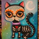 Art: Day of the dead kitty cat by Artist Miss Moon
