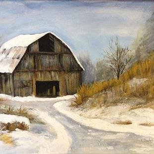 Art: The Old Barn in Winter, Snow Scene by Artist Penny StewArt