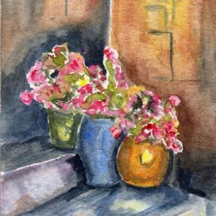 Art: Colourful Pots ACEO by Artist Janet M Graham