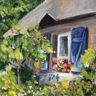 Art: Cottage Garden ACEO by Artist Janet M Graham