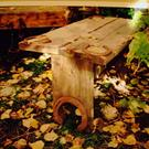 Art: Rustic Wood Bench by Artist CJ's Rockart & IronBark Creations