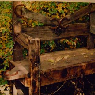 Art: Rustic Handcrafted Wood bench by Artist CJs Soul Studio