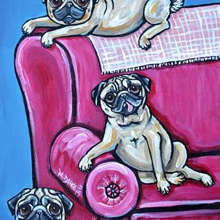 Art: Three Pugs and the Pink Couch by Artist Melinda Dalke