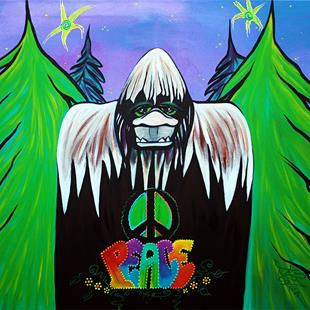 Art: Bigfoot Peace by Artist Laura Barbosa