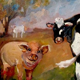 Art: Pig and Cow by Artist Delilah Smith