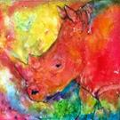 Art: Abstract Rhinoceros by Artist Ulrike 'Ricky' Martin