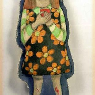Art: The Texting Dead zombie doll by Artist Catherine Darling Hostetter