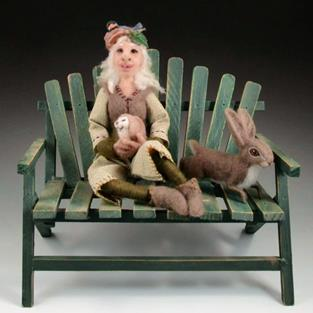 Art: Lady of the Woods - needle felted, ball-jointed doll by Artist Harlan