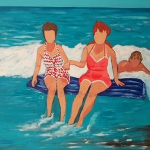 Art: bathing beauties w/ body surfer by Artist Amie R Gillingham