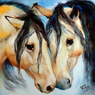 Art: BUCKSKIN FRIENDS by Artist Marcia Baldwin