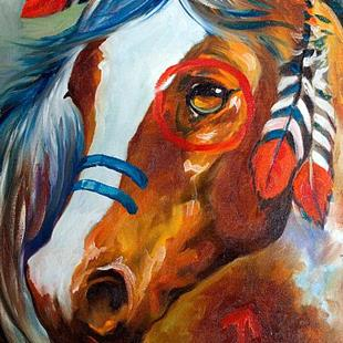 Art: INDIAN WAR HORSE ~ BLAZE by Artist Marcia Baldwin