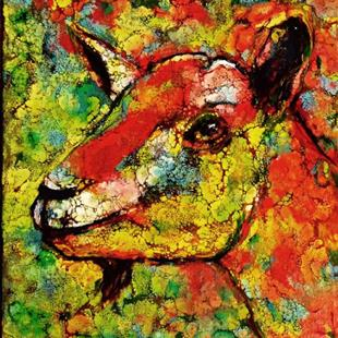 Art: Abstract Goat Portrait - sold by Artist Ulrike 'Ricky' Martin