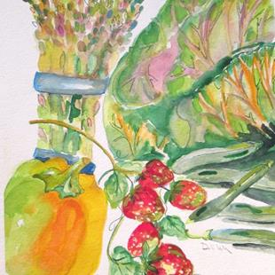 Art: Strawberries and Vegetables by Artist Delilah Smith