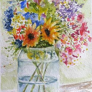 Art: Flowers in Jar - SOLD by Artist Bonnie Pankhurst